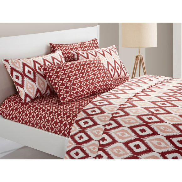 Brick Two Toned Ikat Diamond Pattern Sheets Set Luxurious Modern Geometric Bedding Boho Chic Textured Design Master Guest Dorm Room