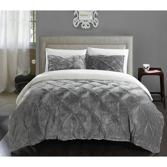 Micro Plush Pinch Pleated Comforter Set Chic Plush Pinched Pleat Pintuck Diamond Tufted Textured Sherpa Lined Bedding Stylish Pin Tuck Puckered Texture Themed