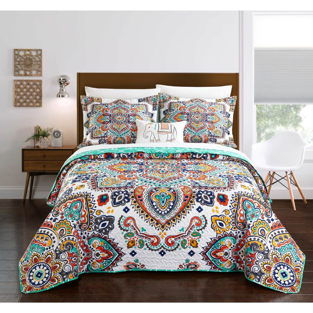 Large Paisley Quilt Set Hippie Themed Quilt Bohemian Pattern Hippy Boho Chic Embrodiered