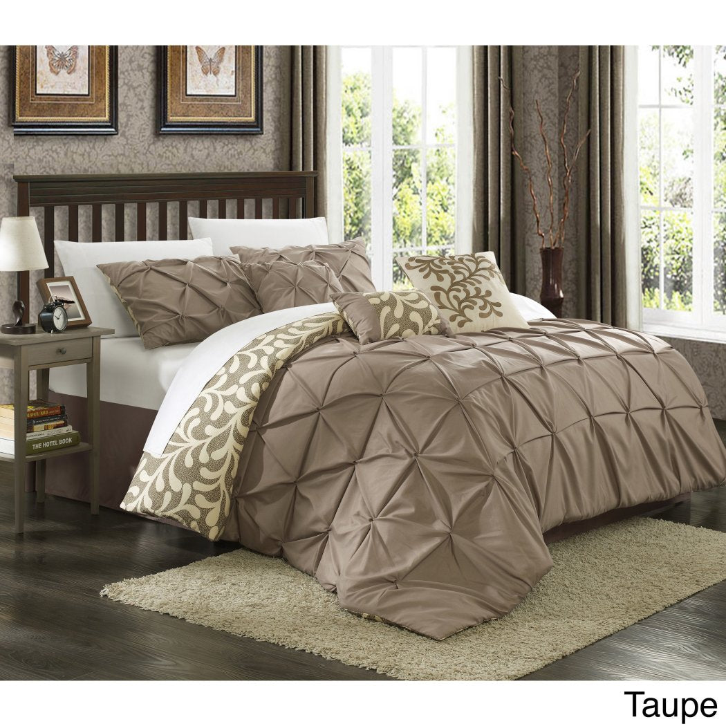 Pinched Pleat Comforter Set Fancy Luxury Bedding Contemporary Microfiber Polyester Geometric Floral Pattern Fancy