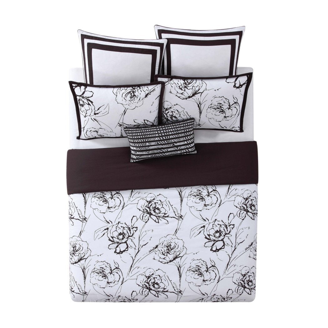Graphic Floral Printed Comforter Set Glam Flower Design Hand Sketch Boho Chic Hippie Adult Bedding Master