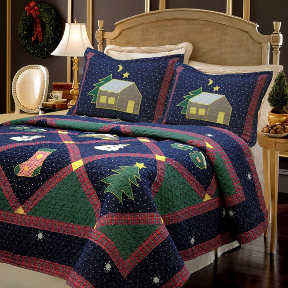 Christmas Themed Quilt Set mas Bedding Holiday Spirit Winter Nights Design Star Pattern Stockings Snow Men Patchwork Green