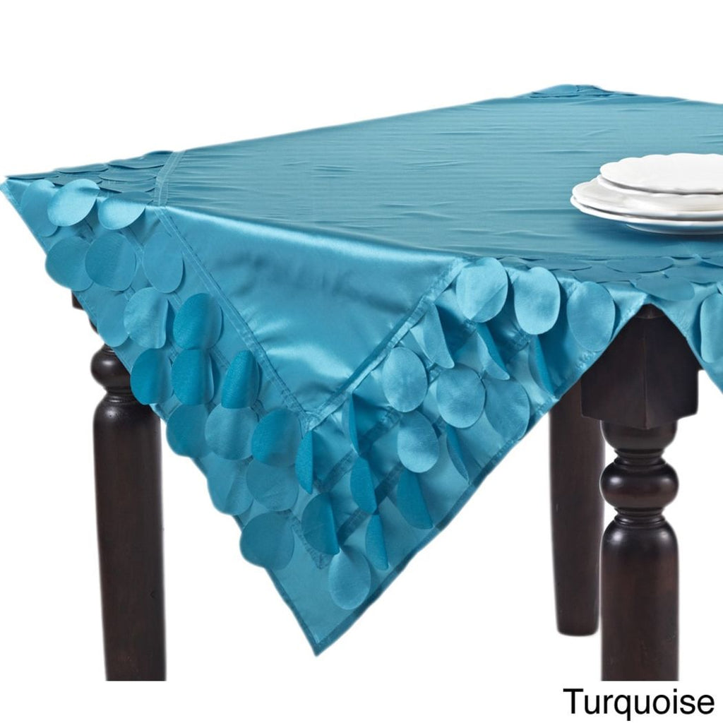 Circle Design Tablecloth Ruffled Vibrant Border Gypsy Ruffles Ruched Ripples Trendy Rectangle Large Classic Dining