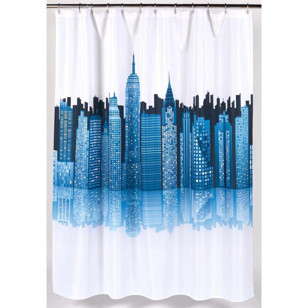 Ocean Blue Graphic Art Themed Shower Curtain Polyester Detailed Colorful Cityscape Printed Abstract Graphical Pattern Modern Elegant Design Textures - Diamond Home USA