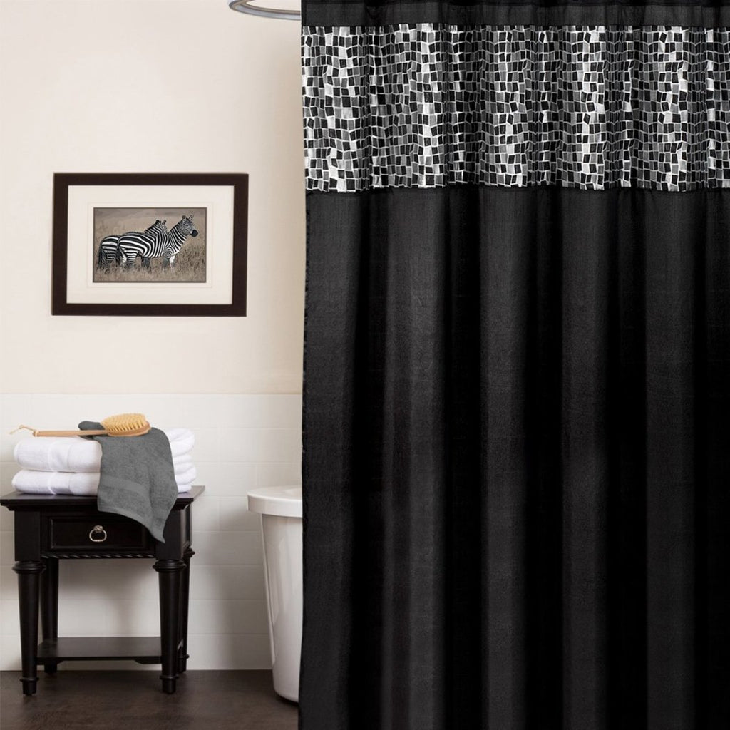 Black Tiles Patchwork Shower Curtain Solid Color Themed Gorgeous Bright Hippy Bathtub Shower Adorable Classic Siver Square Pattern Vibrant Solid Color