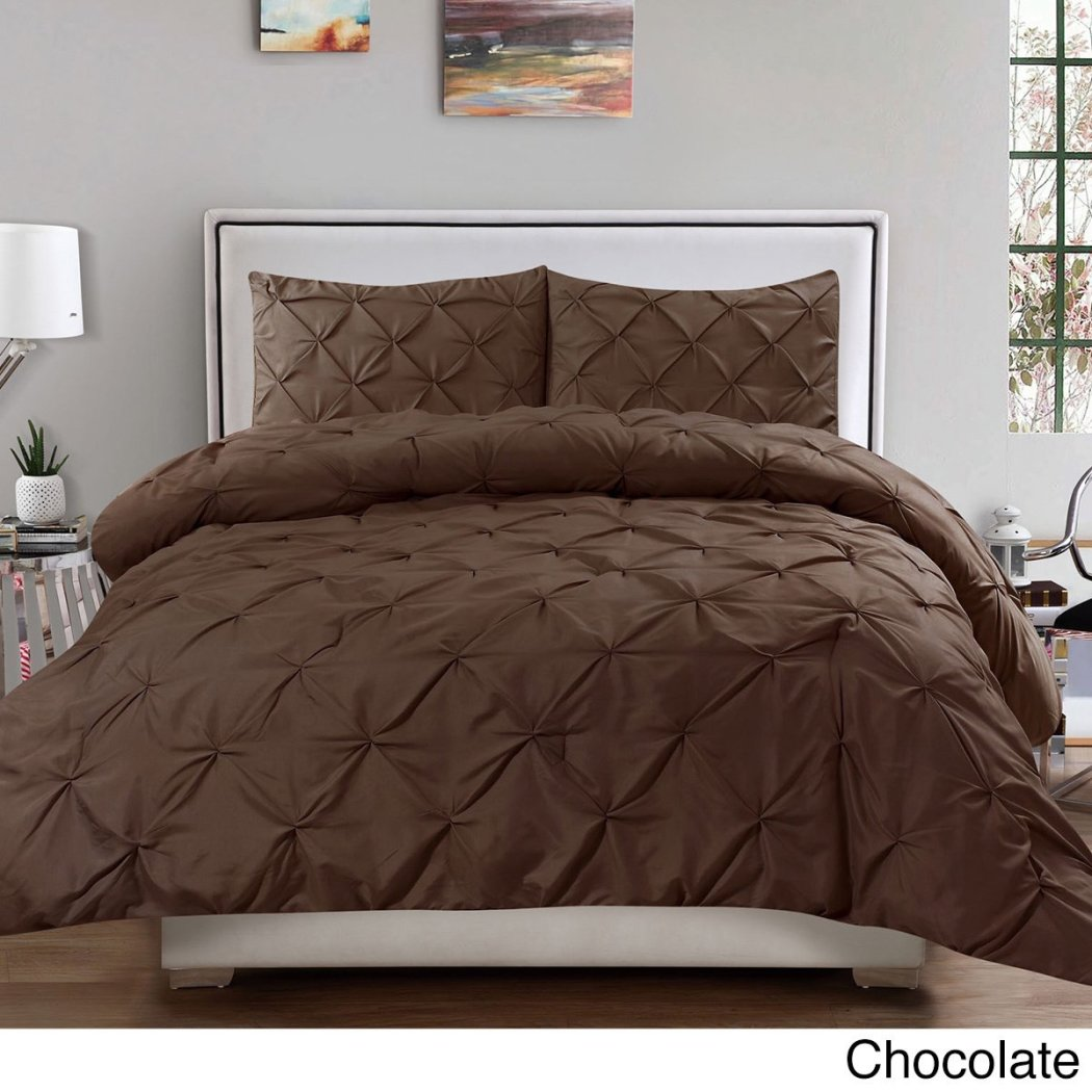 Pinched Pleat Comforter Set Fancy Luxury Bedding ClassicContemporary Microfiber Pattern Durable Attractive Fancy