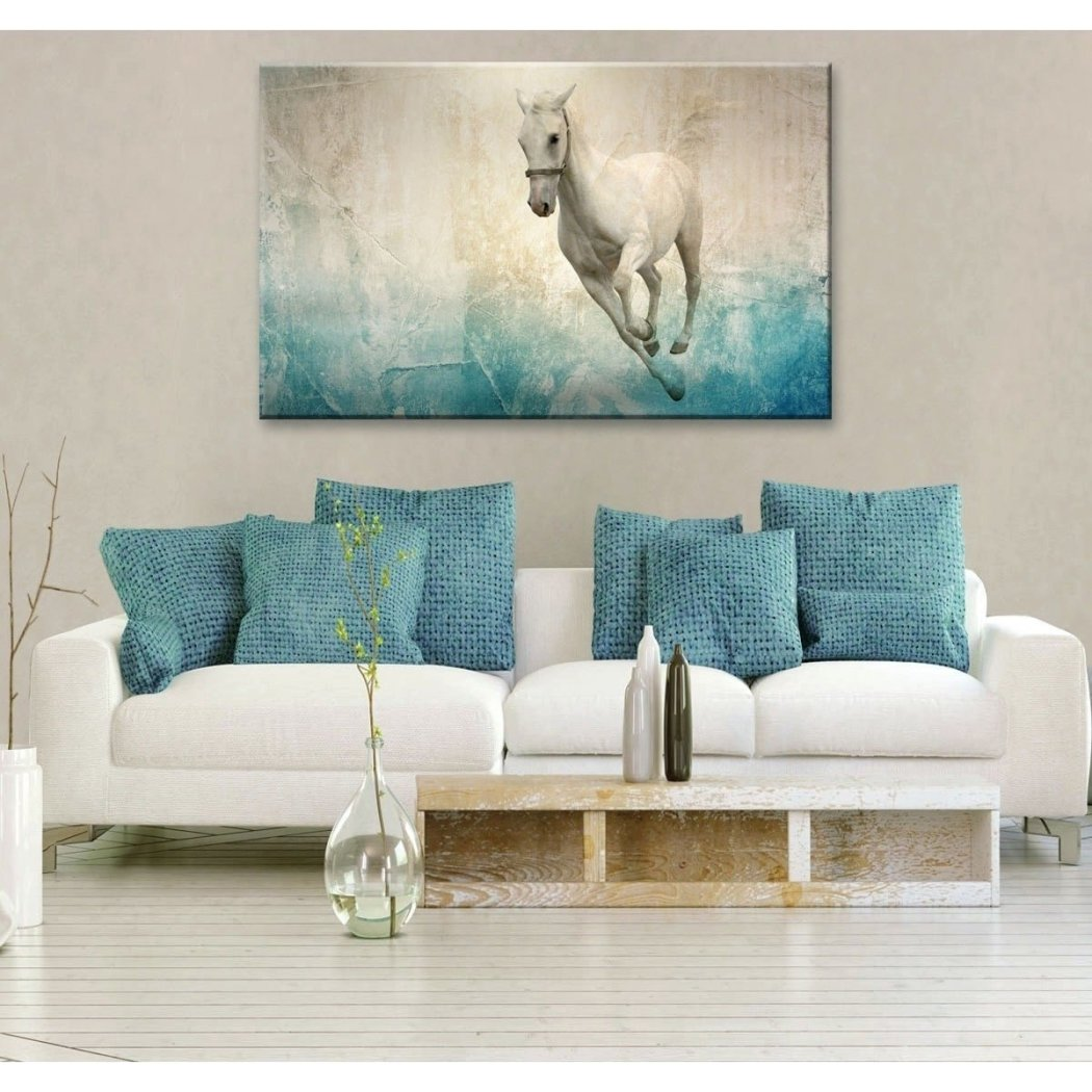 Horse Pattern Wall Art Rectangle French Country Theme Hanging Picture Horses Pony Wood Plaque Modern Abstract Animal