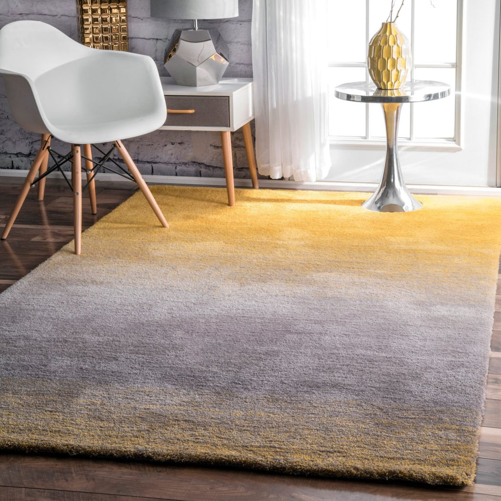 4' x 6' Handmade Soft Plush Ombre Coastal Shag Yellow Area Rug Polyester Color Paint Painting Bright Light Vivid Bold Transitional Blend Solid - Diamond Home USA