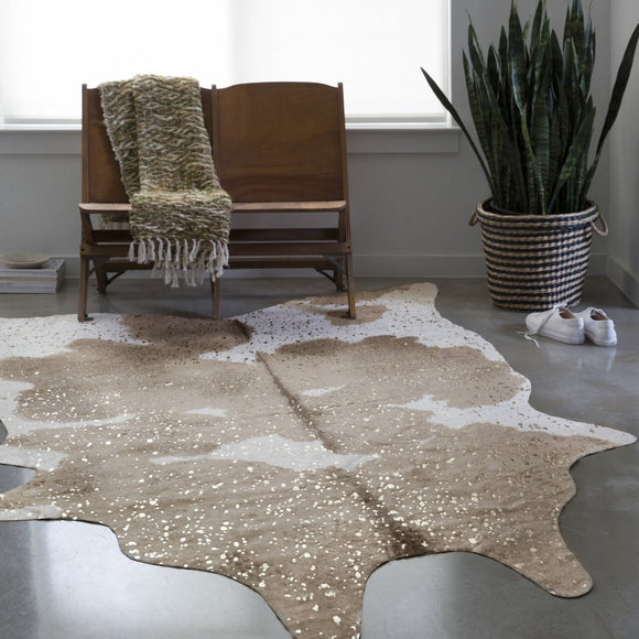 5x6'6 White Taupe Faux Cowhide Area Rug Free Form Indoor Beige Cow Hide Pattern Carpet Living Room Country Floor Mat Nature Wilderness Animal Skin - Diamond Home USA