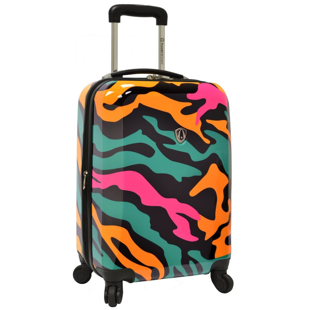 Blue Hot Pink Orange Camouflage Theme Luggage Hardtop Hardside Carry Roller Set Colorful Camo Army Themed Hard Side Top Rolling Upright Suitcase - Diamond Home USA