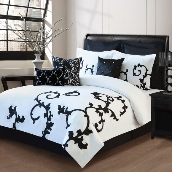 Girls Vine Comforter Set Floral Themed Bedding Scroll Motif Modern Stylish Flower Scrollwork Design Pattern Damask Cotton