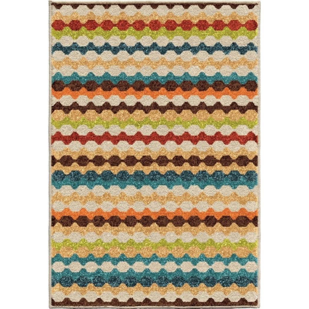2'6ft X 3'9ft Colorful Rainbow Moroccan Stripes Area Rug Color Rectangle Bright Vibrant Carpet Living Room Kitchen Southwest Tribal Native Geometric - Diamond Home USA