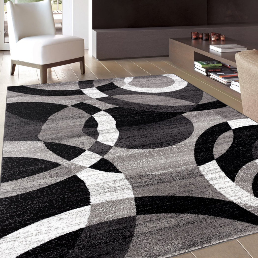 3 3 X5 Ft Grey Black Gray White Modern Geometric Area Rug Indoor Circl Diamond Home