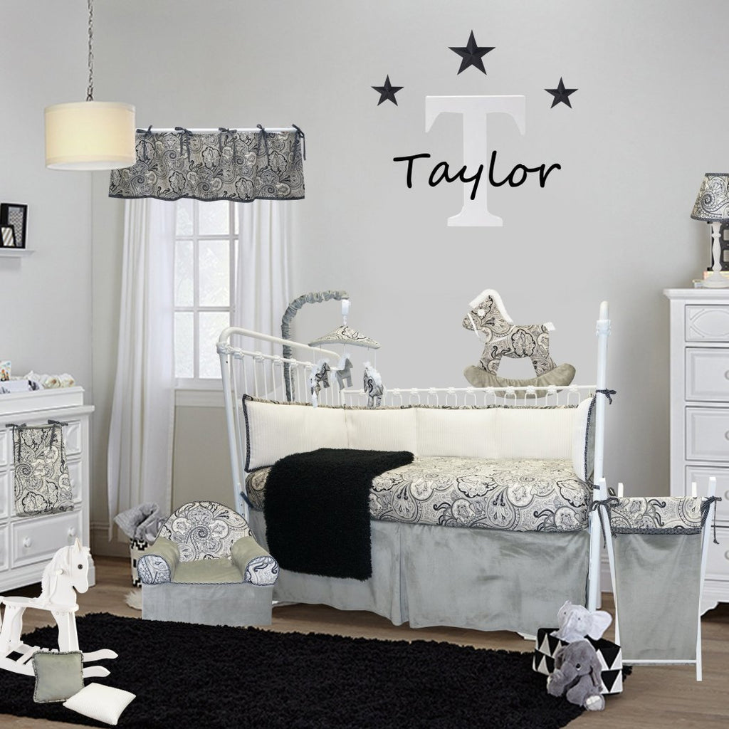 Baby Black White Grey Paisley Floral Crib Bedding Set Newborn Pattern Themed Nursery Bed Set Infant Child Soft Elegant Dots Flower Blanket - Diamond Home USA
