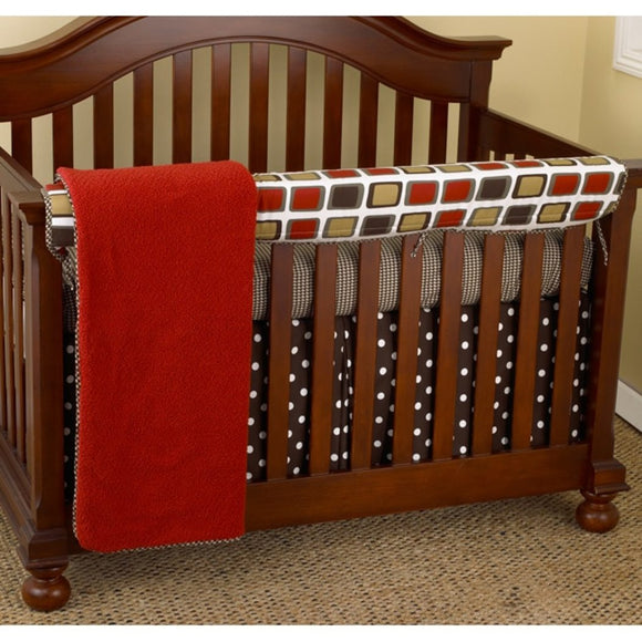 Baby Red Brown Black Houndstooth Crib Bedding Set Newborn Dot Themed Nursery Bed Set Infant Child Squares Contemporary Espresso Blanket Coverlet Cotton Polyester - Diamond Home USA