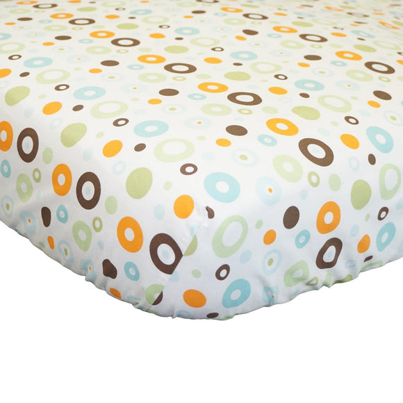 N2 White Orange Brown Circles Fitted Crib Sheet Pattern Themed Nursery Bedding Infant Child Scribble Multicolor Dots Geometric Unique Designs Cute Adorable Cotton - Diamond Home USA
