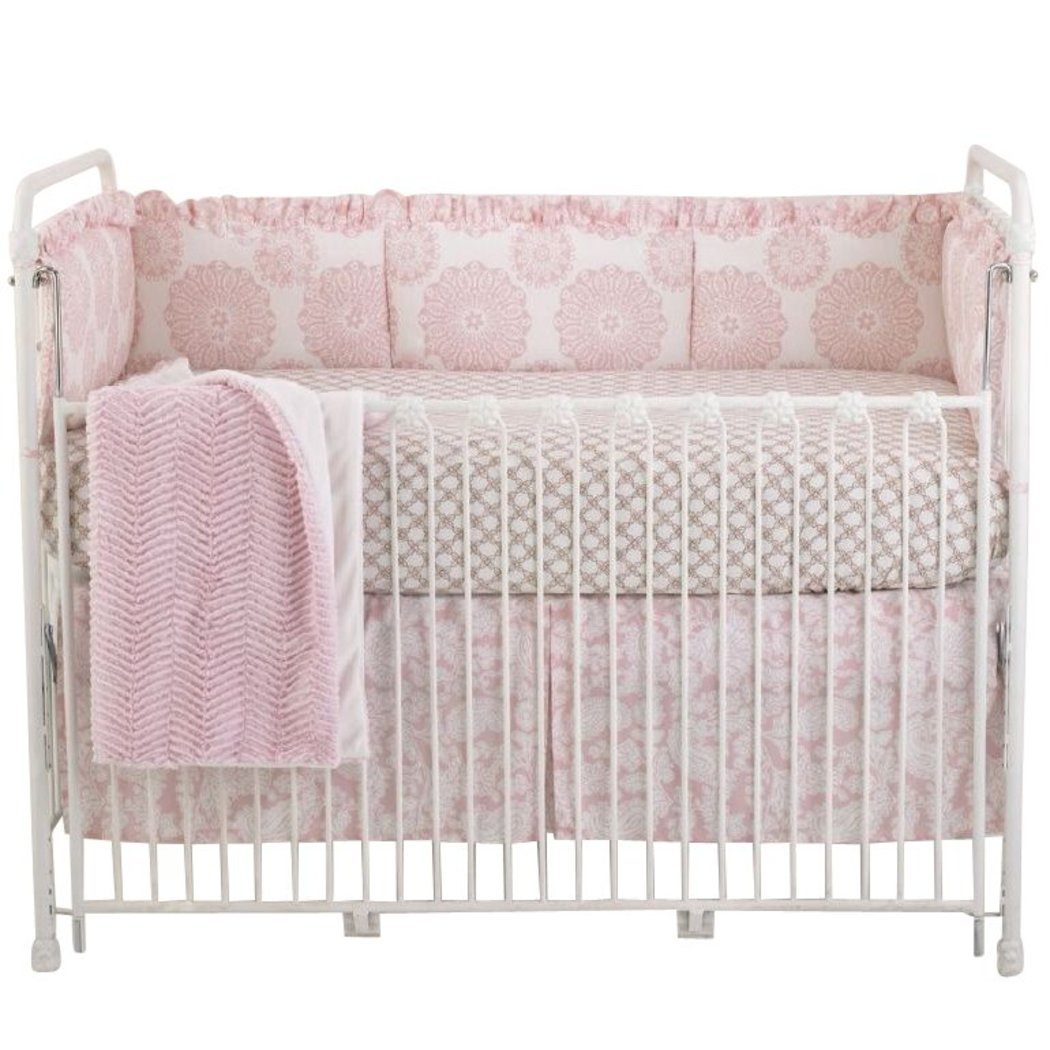 Baby Girls Simple Pink White Flowers Crib Bedding Set Newborn Floral Themed Nursery Bed Set Infant Child Cute Adorable Paisley Princess Geometric Blanket Coverlet Cotton - Diamond Home USA