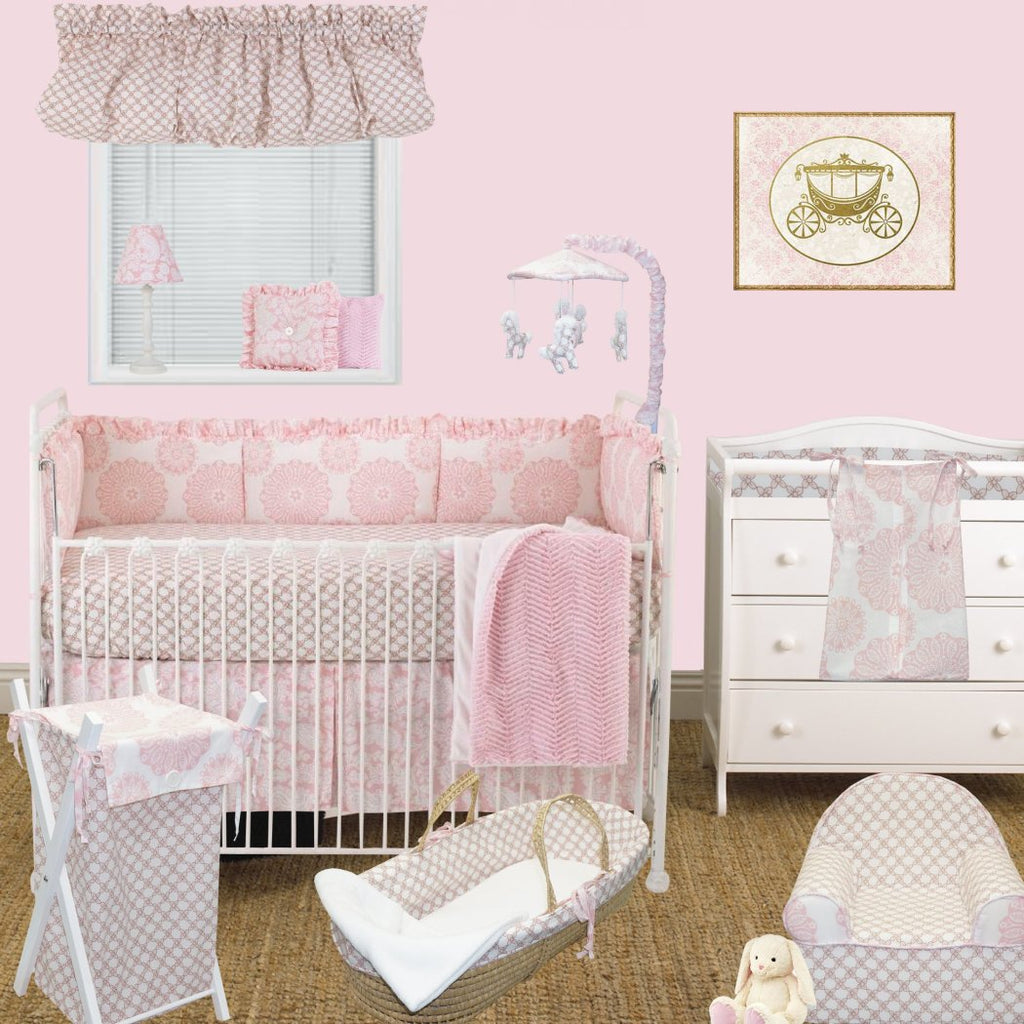 1b711d2424d Baby Girls Simple Pink White Flowers Crib Bedding Set Newborn Floral Themed  Nursery Bed Set Infant