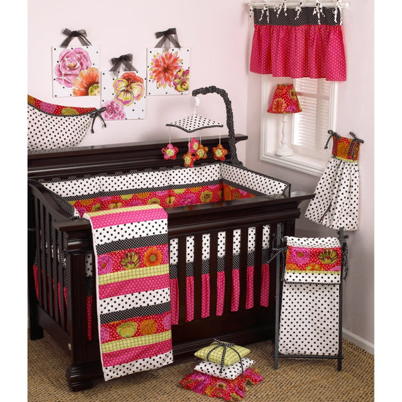 Baby Girls Pink White Black Flowers Crib Bedding Set Newborn Floral Themed Nursery Bed Set Infant Child Polka Dots Ties Striped Bright Blanket Patterns Coverlet Cotton Polyester - Diamond Home USA