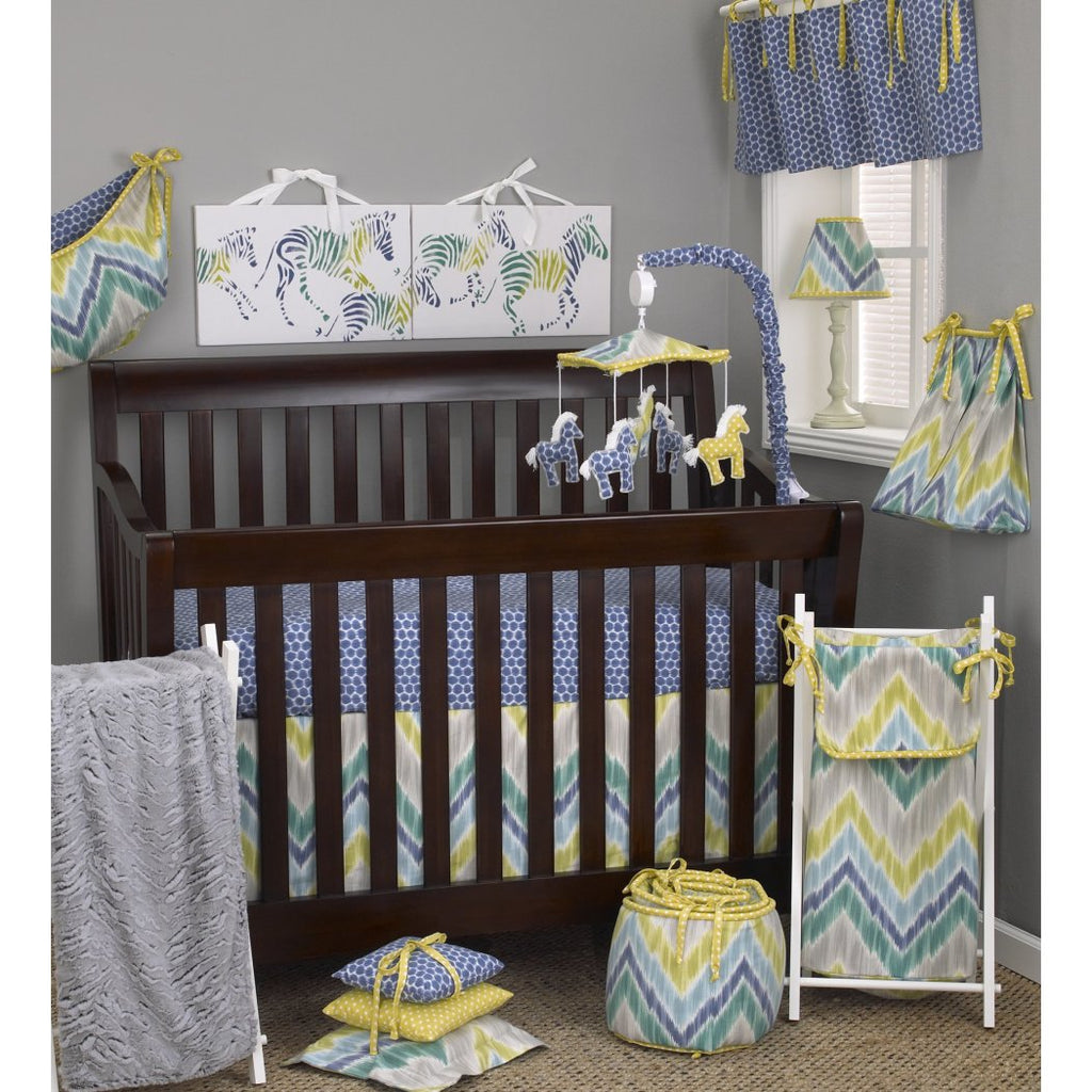 Baby Yellow Blue Grey Chevron Crib Bedding Set Newborn Patterned Themed Nursery Bed Set Infant Child Geometric Zebra Dots Cute Adorable Blanket Comforter Cotton Polyester - Diamond Home USA