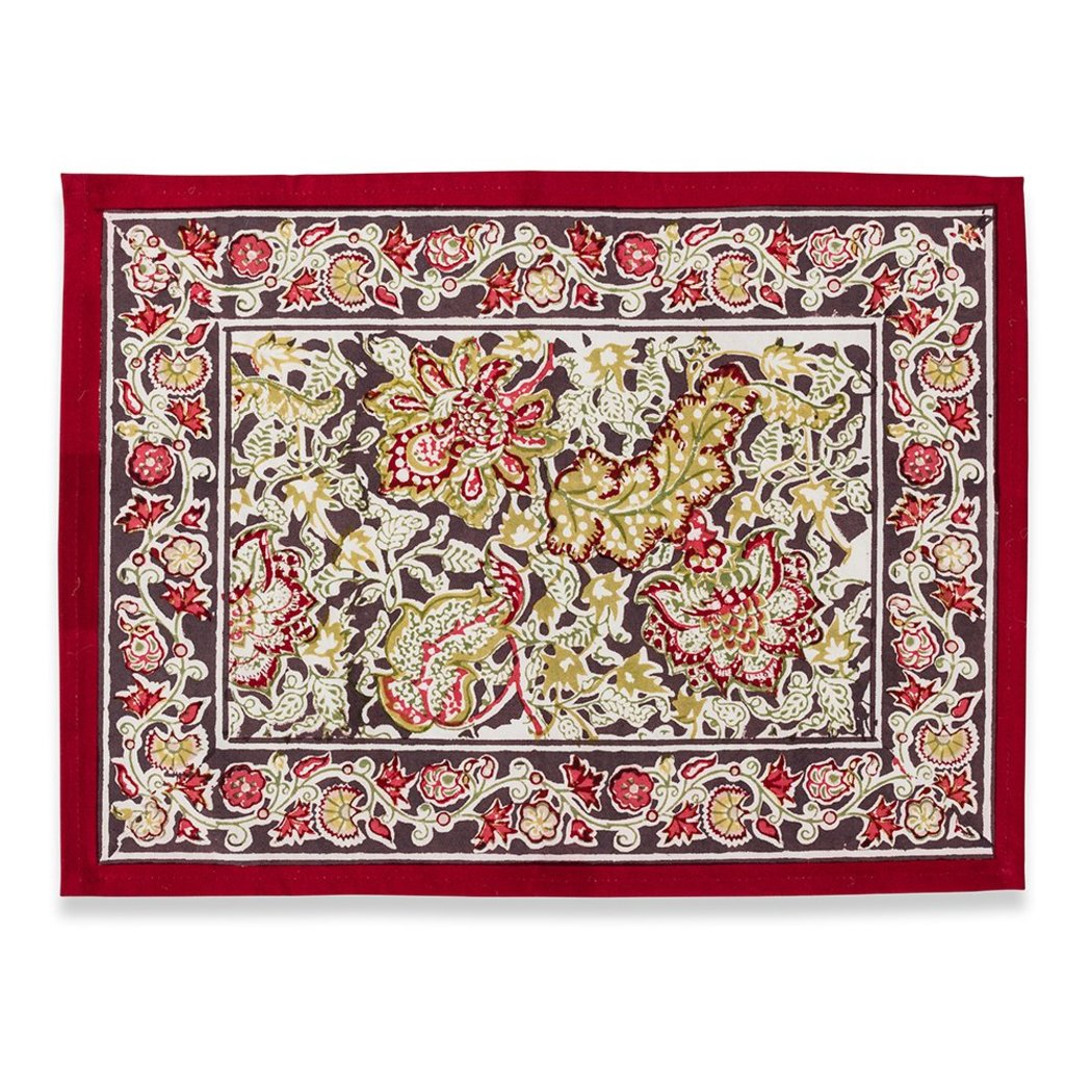 Paisley Floral Pattern Placemats Set Elegance Luxurious Bohemian Flowers Motif Rectangle Shape Place Mats Traditional Borders Easy Care
