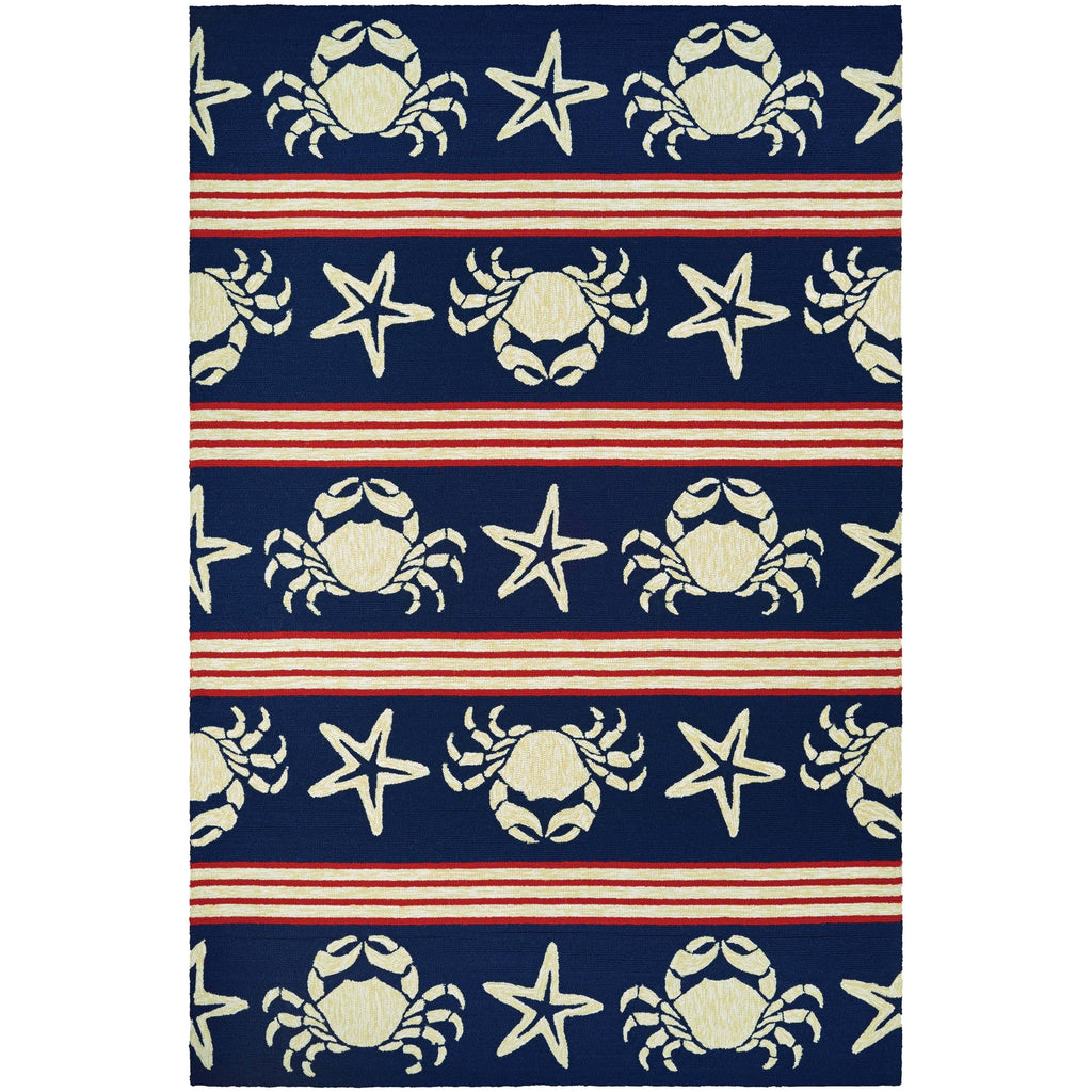 5 6x8 White Red Nautical Crabs Area Rug Rectangle Indoor Outdoor