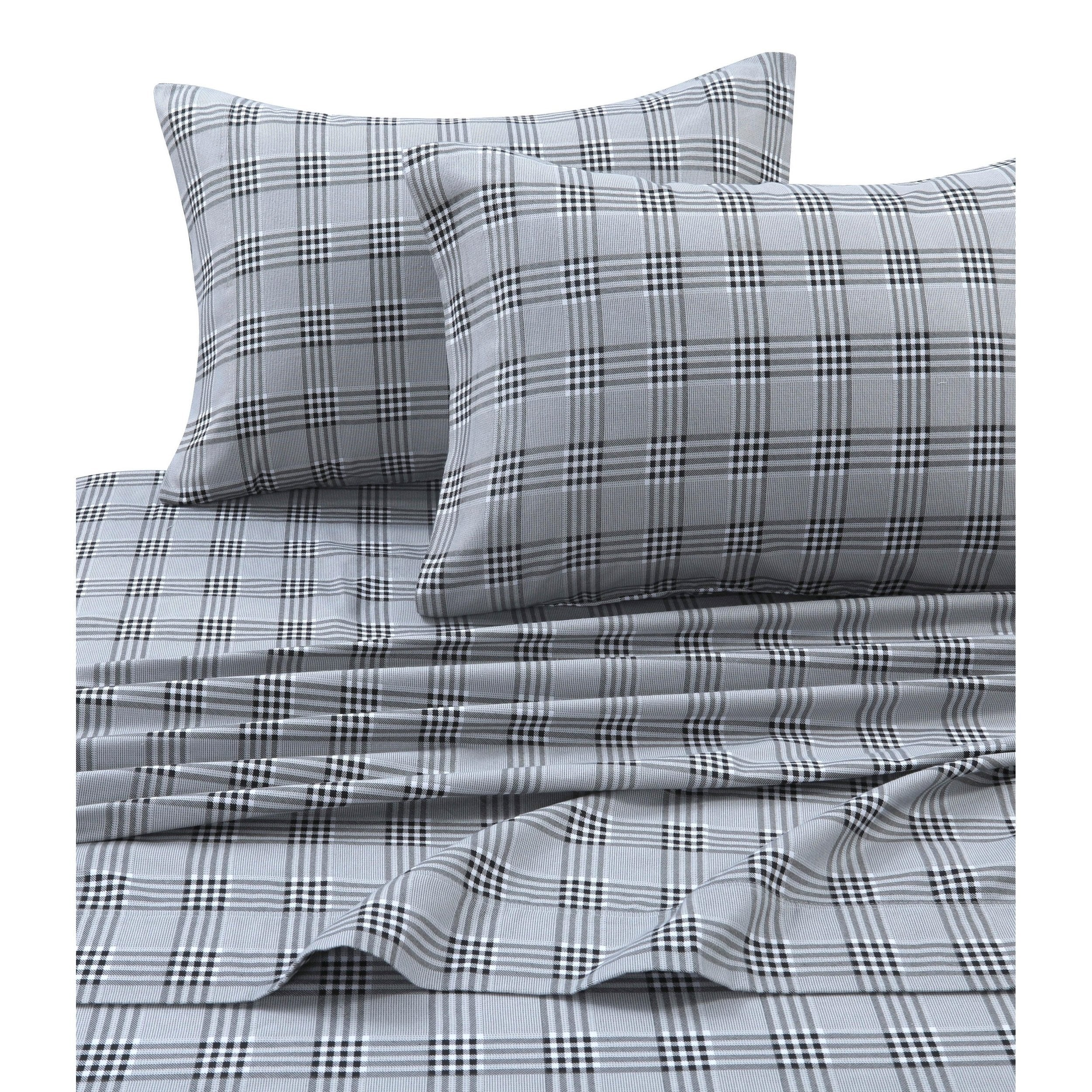 Teen Charleston Plaid Sheet Set Checkered Bedding Oversized Flat Bed Sheets Soft Cozy Stripe Gorgeous Extra
