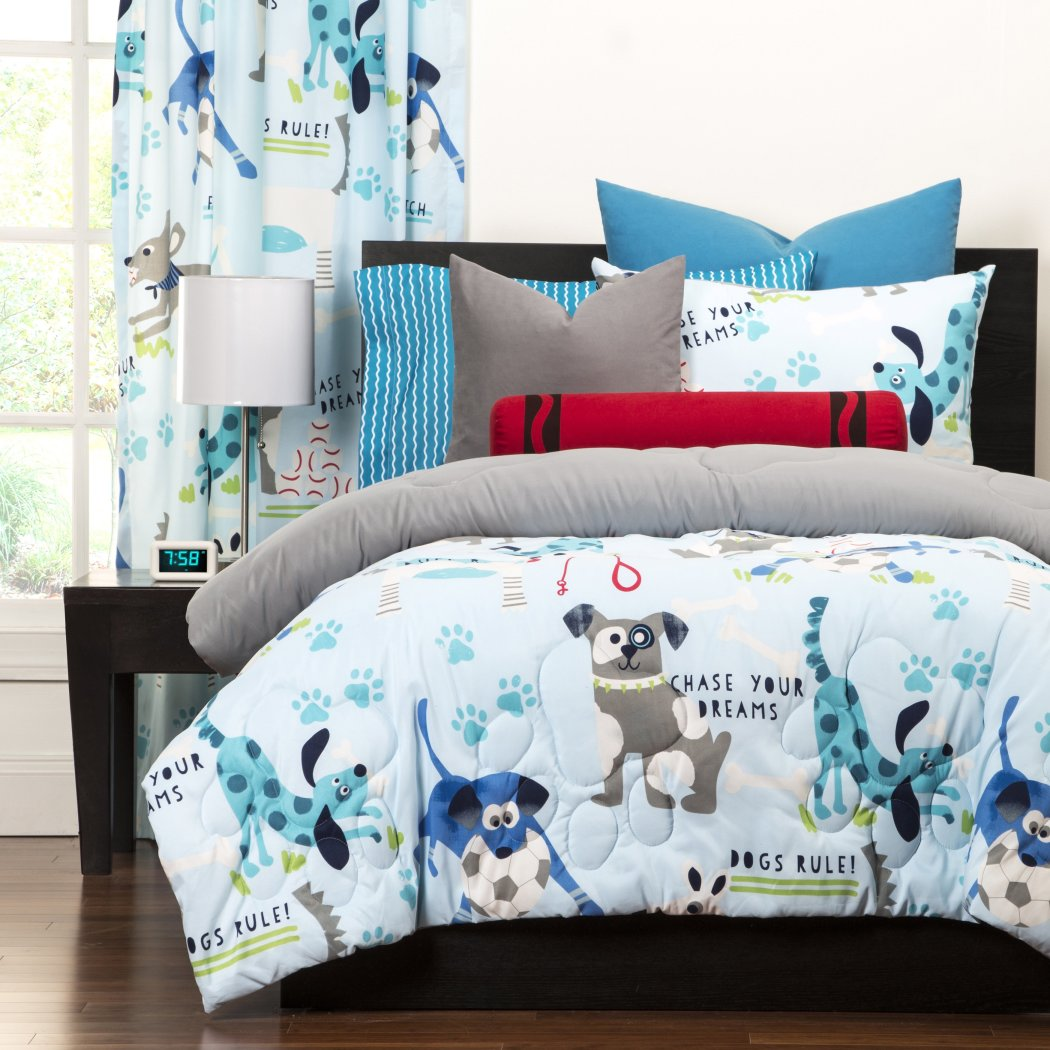 Kids Puppies Dogs Comforter Cute Adorable Childrens Playful Bedding Puppy Love Little Doggies White