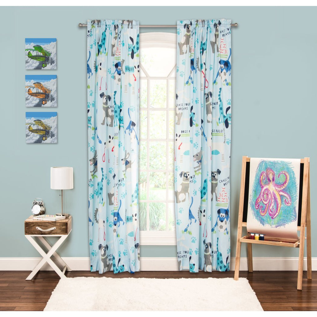 Girls Puppies Paw Prints Sky Blue Grey White Window Curtain 84 Inch Animal Pattern Single Panel Gray Blue Colour Kids Themed Teen Graphic Novelty - Diamond Home USA
