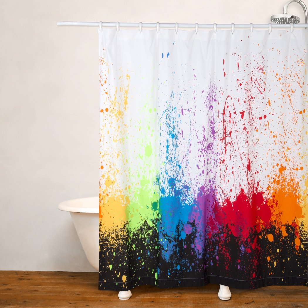 1 piece Kids Cosmic Burst Theme Shower Curtain Adorable Splash Pattern Colorful Splat Design Fun Blind Abstract Red Green Yellow Blue Purple Orange - Diamond Home USA