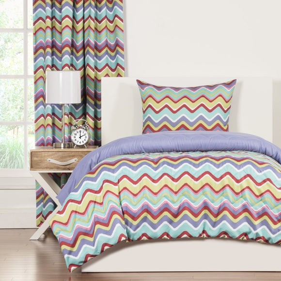Chevron Comforter Set Mixed Palette Chevron Pattern Unique Gorgeous Bedding Modern Bedroom Polyester