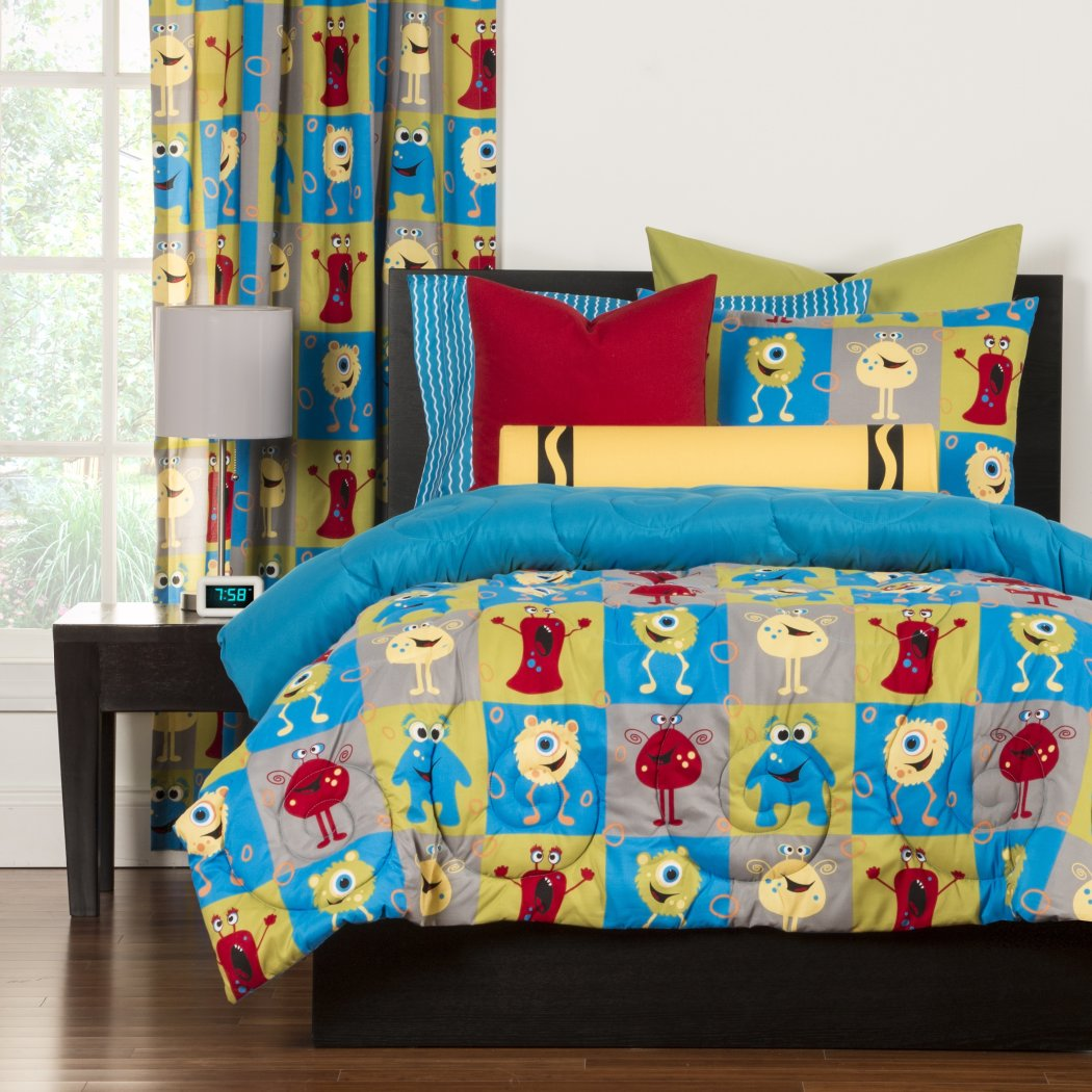 Kids Cute Monster Themed Comforter Set Funny Faces Character Square Pattern Bedding Vibrant Unisex