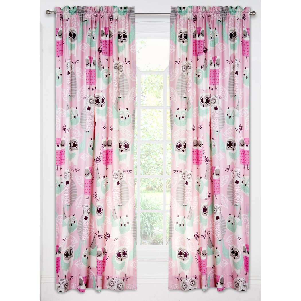 NA Blue Pink Adorable Night Owls Window Curtain 84 Inch Purple Cutesy Birds Drape Floral Decorated Bodies Stripe Feathers Animal Window - Diamond Home USA