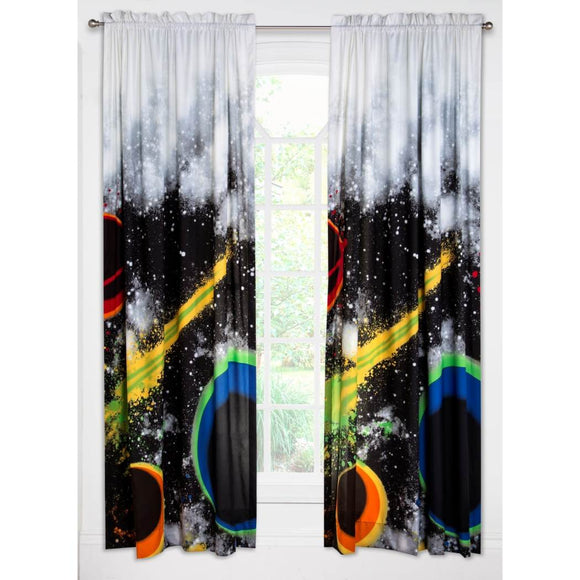 Kids Space Themed Grey Black Yellow Window Curtain 84 Inch Novelty Pattern Colourful Single Panel Colour Graphic Kids Themed Teen Microfiber - Diamond Home USA