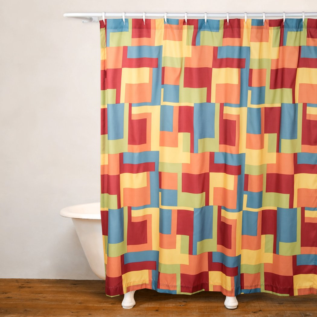Red Yellow Blue Graphic Art Themed Shower Curtains Abstract Geometric Pattern Polyester Detailed Colorful Graphical Box Printed Modern Elegant Design - Diamond Home USA
