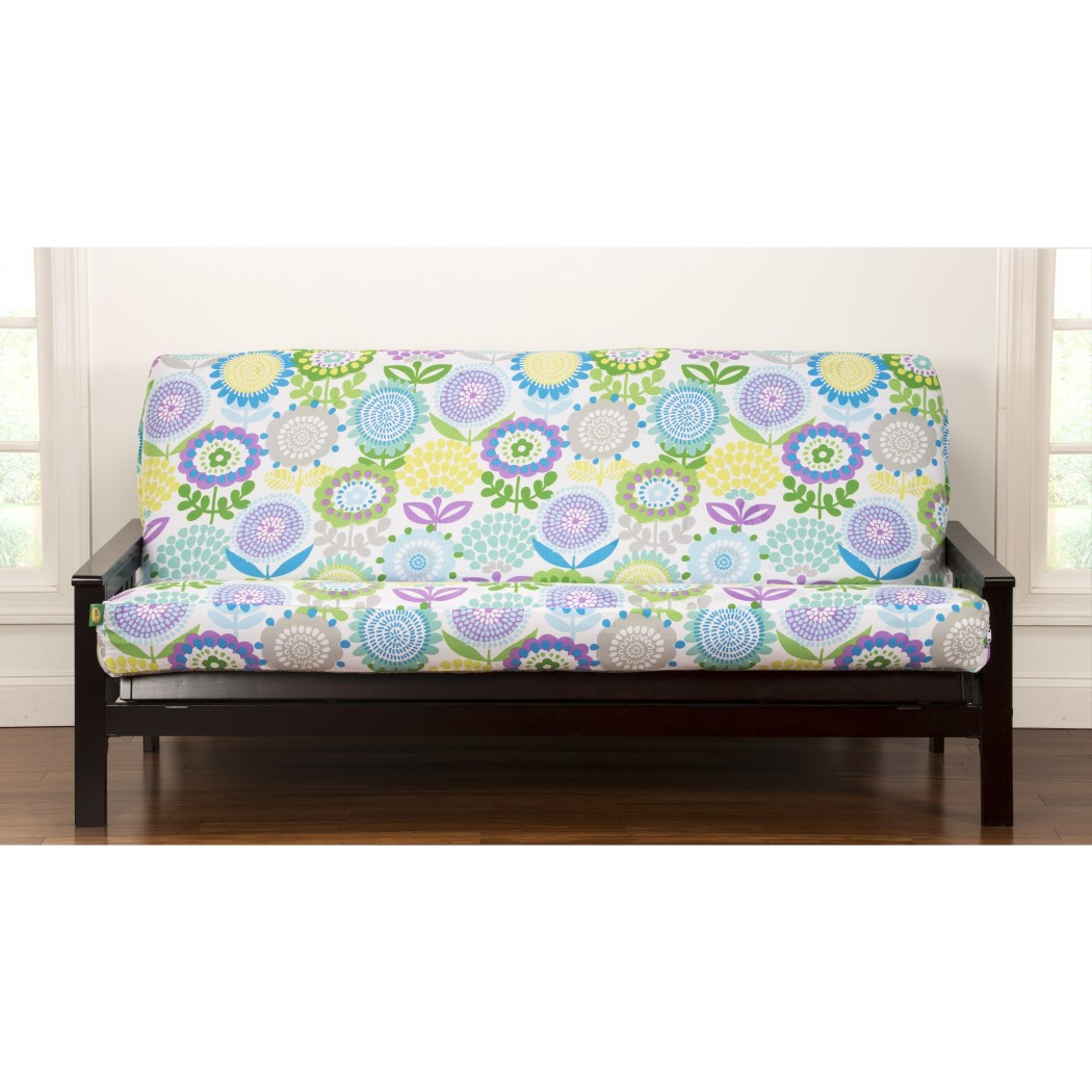 Pansy Flowers Themed Futon Cover Bohemian Floral Pattern Adorable Colorful Nature Bedding Abstract Blue Green Yellow Purple - Diamond Home USA