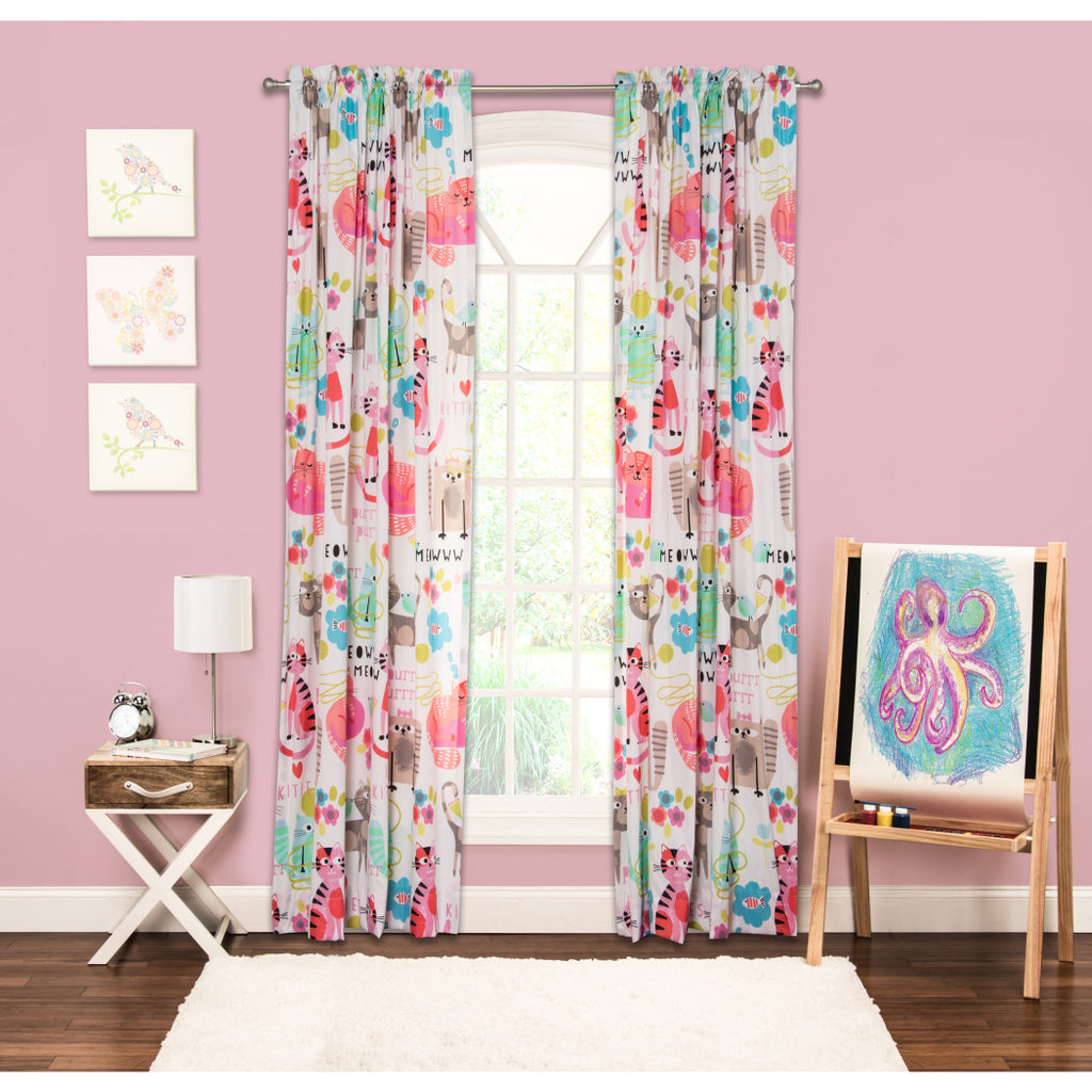 Girls Purrty Cat Fish Pink Blue White Window Curtain 84 Inch Animal Pattern Single Panel Gray Red Colour Kids Themed Teen Graphic Novelty Flower - Diamond Home USA