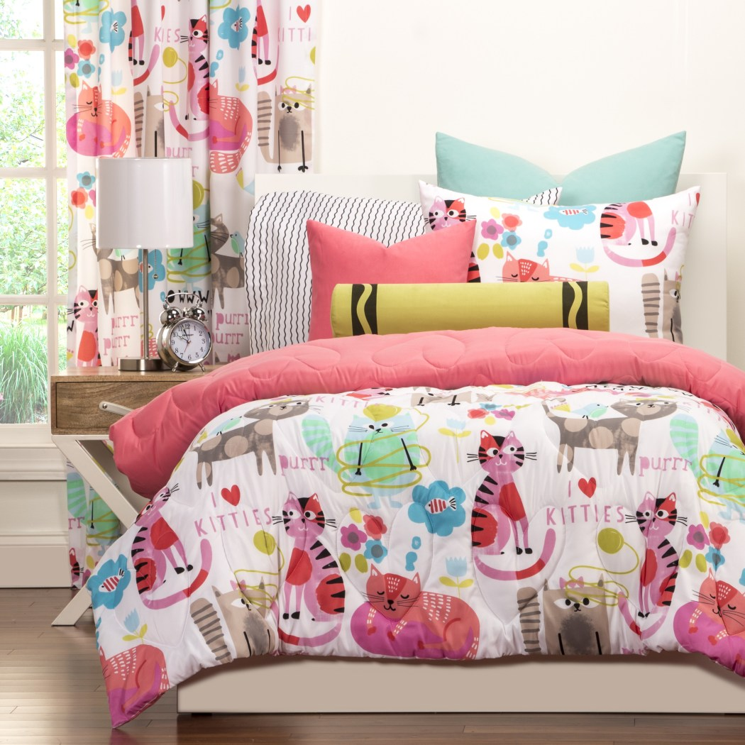 Girls Kids Cat Comforter Cute Adorable Kittens Bedding Children Kitty Kats Lovers Themed Bright