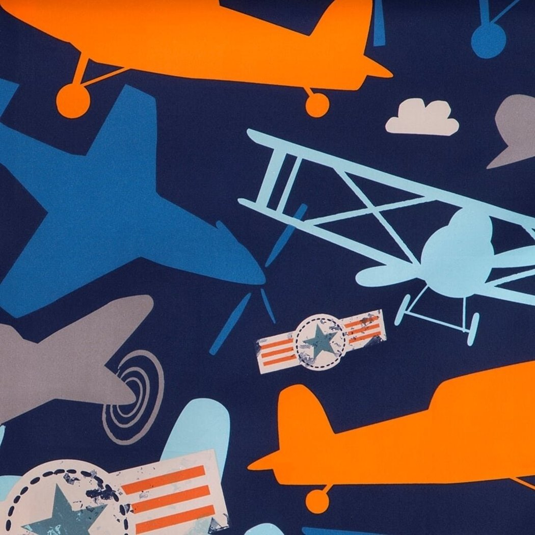 NA Navy Orange Air Planes Window Curtain 84 Inch Gray Aeroplane Drape Airplanes Vintage Flying Aircraft Clouds Adventure Semi sheer Window - Diamond Home USA