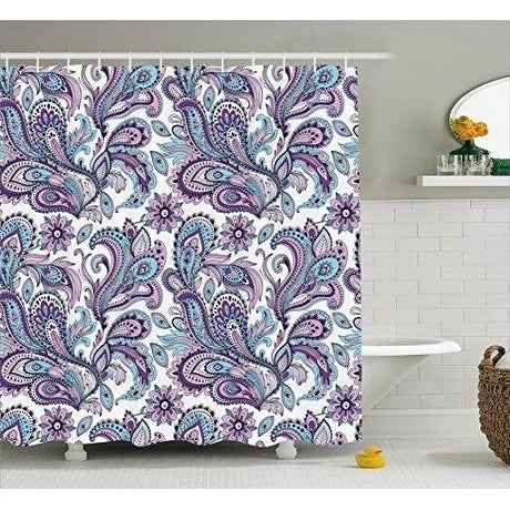 Curtain Set Floral Pattern Bathroom Décor 70 Inches White Purple Blue Modern Contemporary - Diamond Home USA