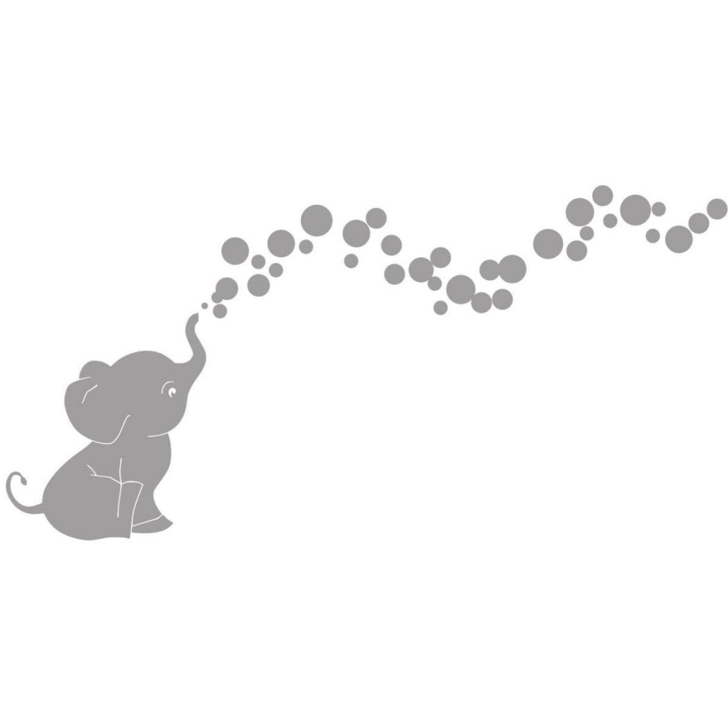 Kids Elephant Wall Decals Set Animal Themed Wall Stickers Peel Stick Cute Safari Africa Heart Love Trunk Baby Adorable Decorative Mural Art Vinyl