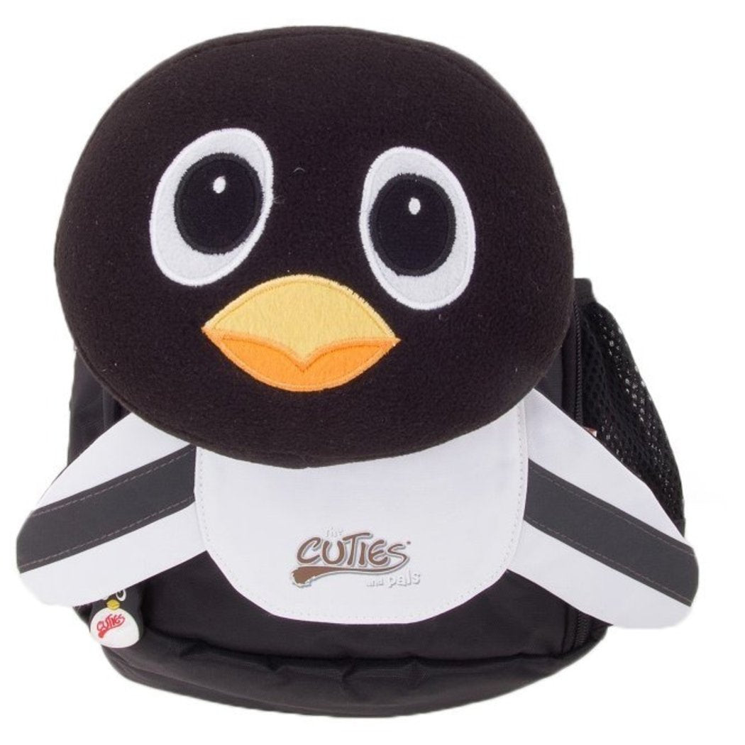 "Black White Peko Penguin Kids Soft Backpack 11 5"" Animal Pattern Polyester - Diamond Home USA"