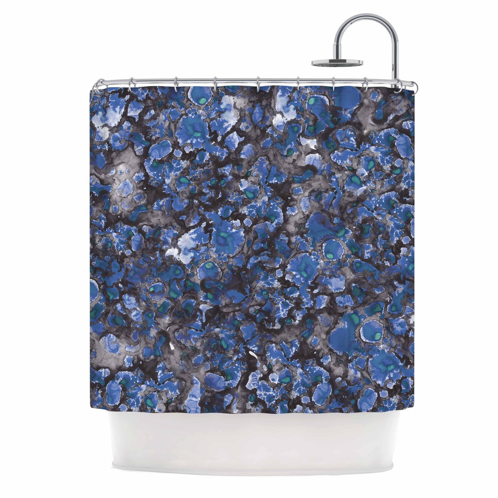 "Danii Pollehn "" Camouflage"" Blue Gray Watercolor Shower Curtain Polyester - Diamond Home USA"