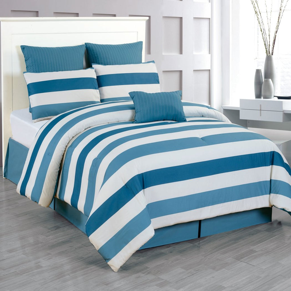 Luxurious Quilted Oversized Comforter Set Fancy Bedding Stripe Pattern Polyester Contemporary Nautical Casual White