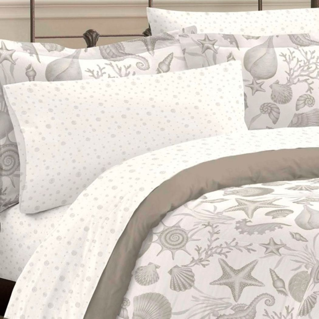 Sea Themed Comforter Set Pretty Starfish Sea Shells Sea Horses Adorable Sea Life Nature Motif Pattern Bedding Vibrant