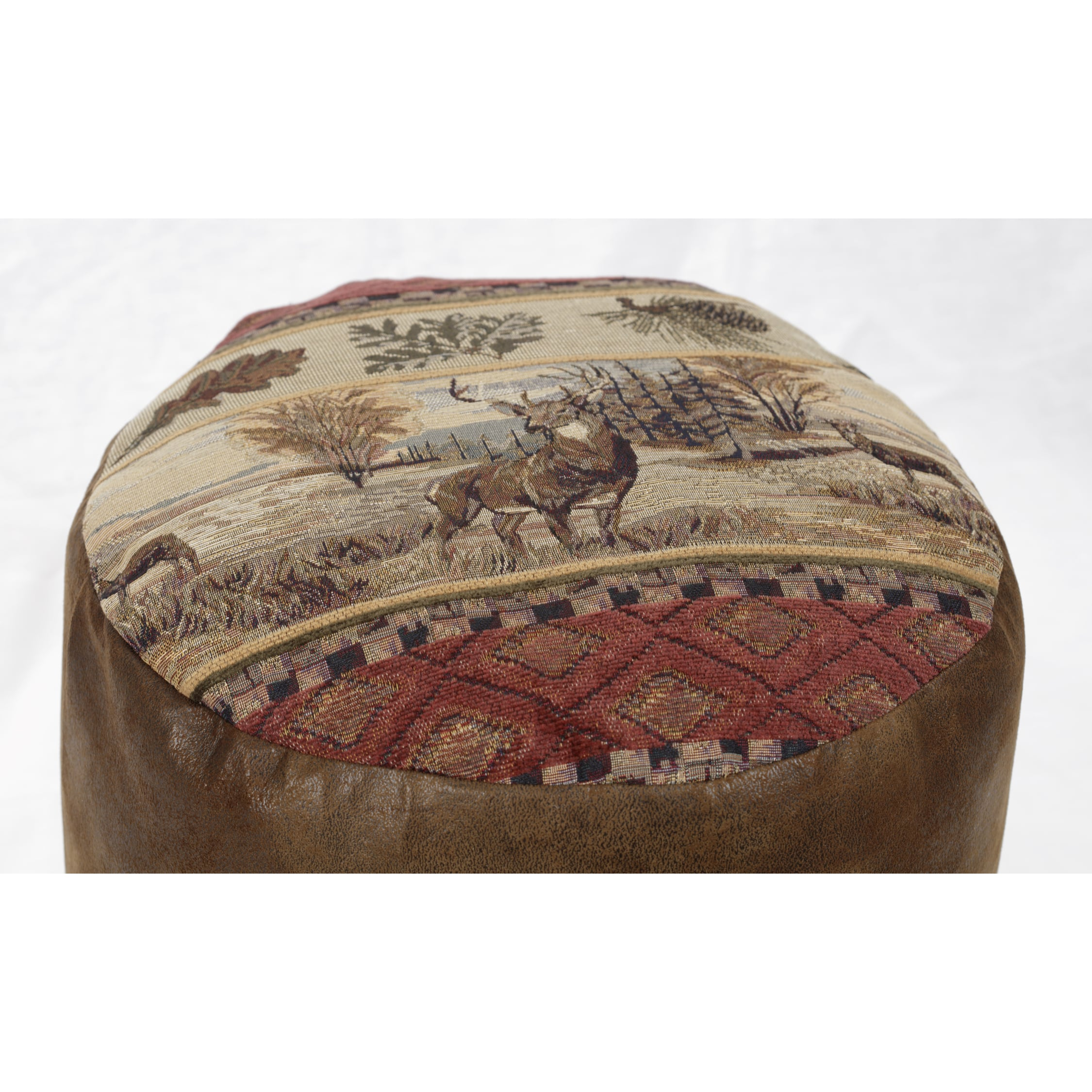 Deer Valley Tapestry Pouf Ottoman Brown Natural Tan Country Rustic Southwestern Pattern Square Fabric Foam Microfiber - Diamond Home USA