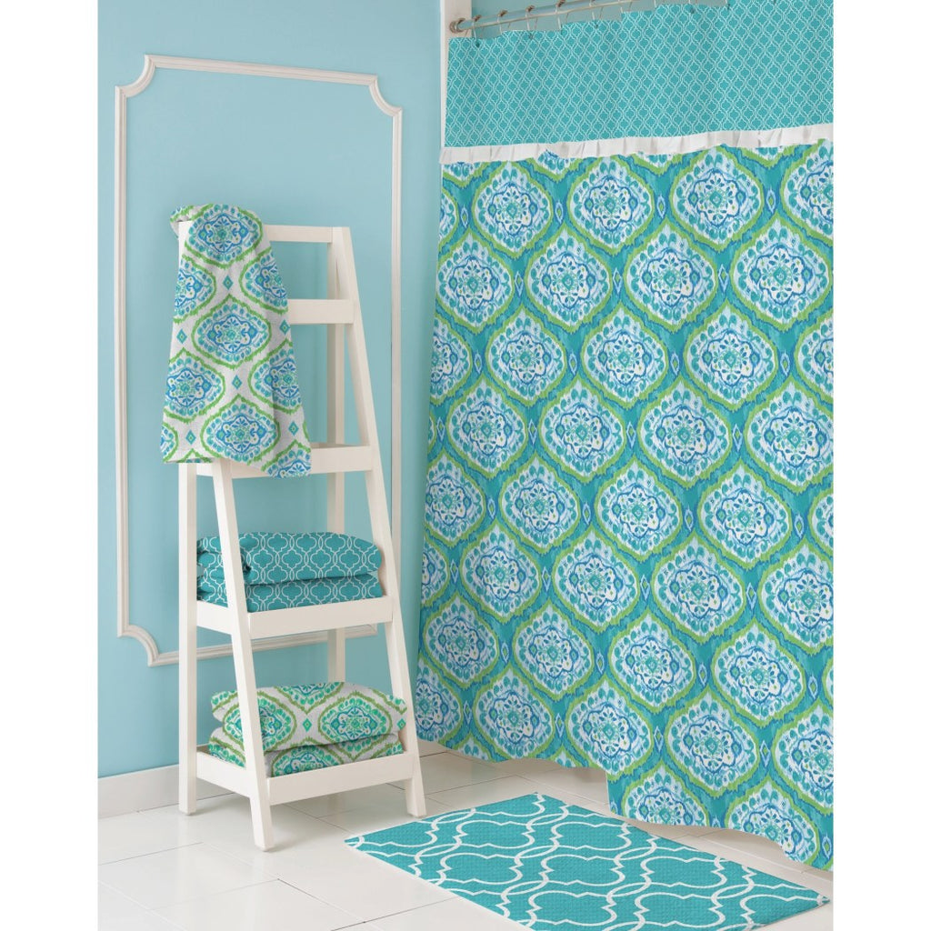 Aqua Blue Geometric Pattern Shower Curtain Polyester Abstract Graphical Themed Detailed Colorful Graphical Flower Printed Modern Elegant Design - Diamond Home USA