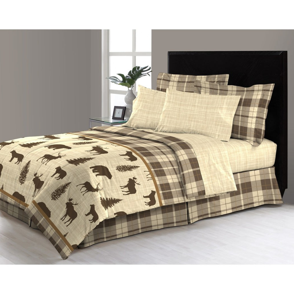 Hunting Themed Comforter Set Deer Bedding Moose Wolves Elk Wildnerness Cabin Themed Lodge Plaid Ljack Pattern Wildlife