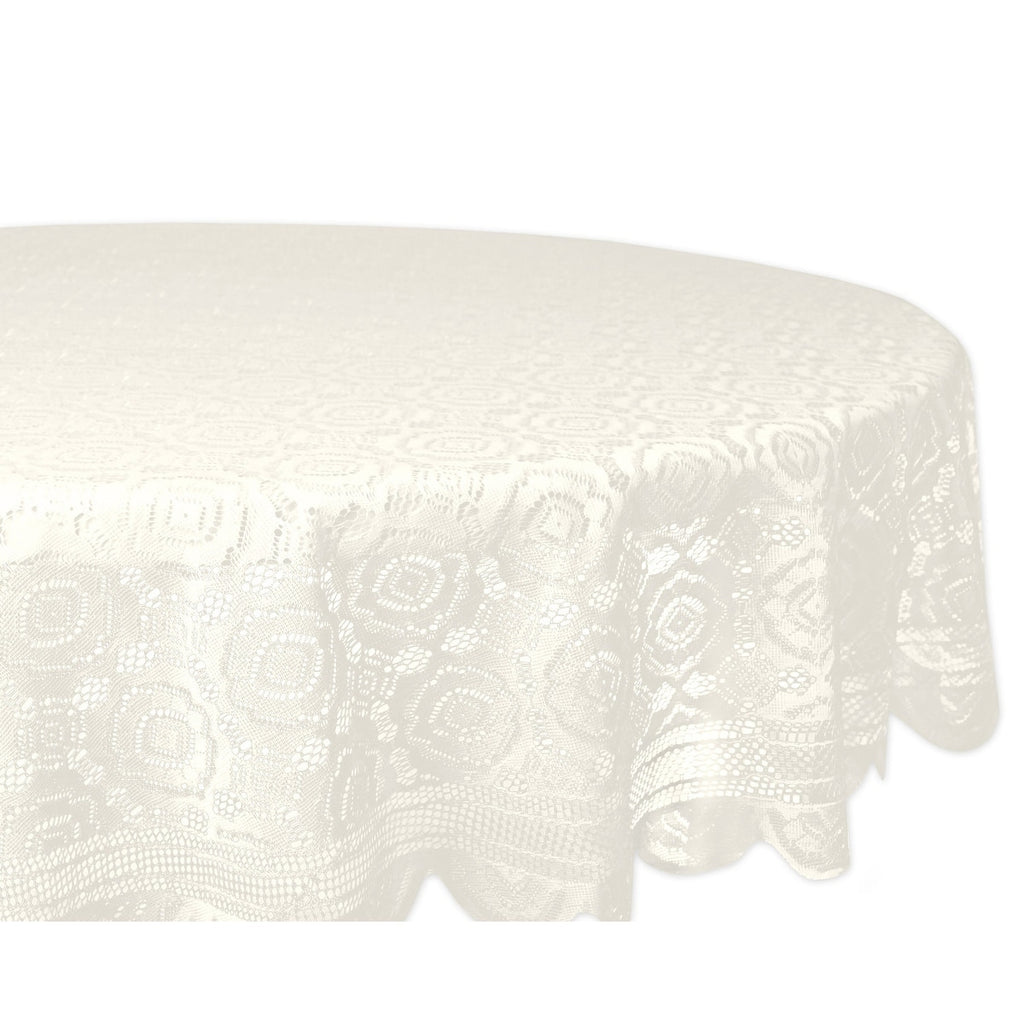 Design Imports Round Cream Vintage Polyester Lace Kitchen Tablecloth (63 Inch Wide X 63 Long) Off-white - Diamond Home USA
