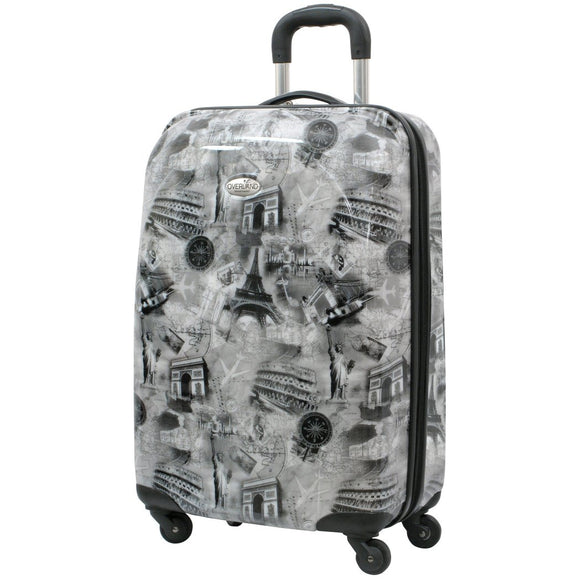 Girls Black White Grey Eiffel Tower Theme Hardtop Luggage Paris France French Inspired Famous Landmark Coliseum Themed Pattern Upright Rolling - Diamond Home USA